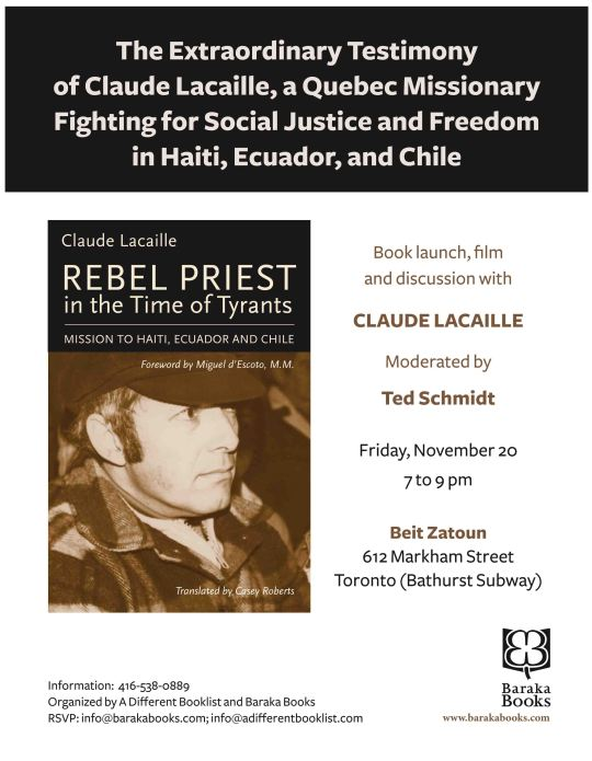 Toronto Launch and Talk - Claude Lacaille Rebel Priets